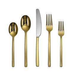 Cambridge Silversmiths 20 Piece Beacon Flatware Set, Gold Mi