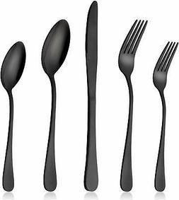 Black Silverware Set, LIANYU 20-Piece Stainless Steel Flatwa