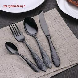 Black Stainless Steel Dinnerware Set Luxury Fork Knife Cutle