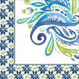Club Pack of 216 Blue and Green Peacock Paisley Paper Bevera