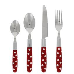 "Le Brun 16-Piece ""Tortolla"" Style Cutlery Set with Red and W"