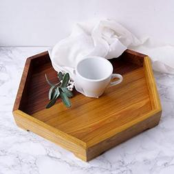 Decorative Wooden Serving Tray Geometric Hexagon Ottoman Cof