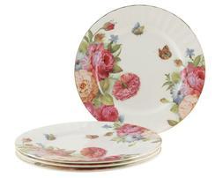 Gracie Bone China 7-1/2-Inch Dessert Plate, Pink Sandra's Ro