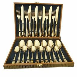 Flatware Set, Magicpro Modern Royal 24-Pieces gold Stainless