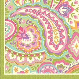 Amscan Disposable 2 Ply Beverage Napkins in Pretty Paisley P