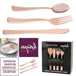 Disposable Plastic Silverware Set Rose Gold Cutlery Wedding
