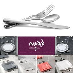 Disposable Plastic Silverware Silver Cutlery Metallic Flatwa