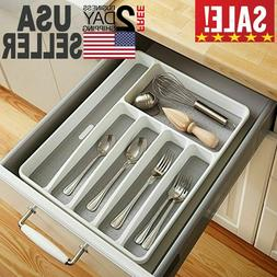 Drawer Organizer Cutlery Tray Flatware Utensil Silverware St