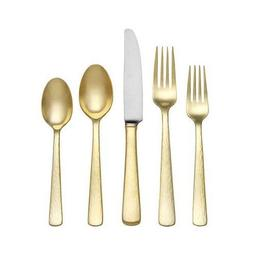 Reed & Barton Echo Gold Finish 18/10 Stainless Flatware 5 Pi