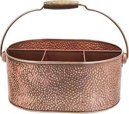 Elegant Home Copper Hammered Flatware Caddy Organizer for Ki