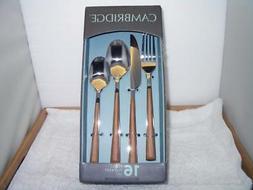 Cambridge Esben Beachwood 16-Piece Flatware Set 4 Settings F