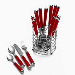Pfaltzgraff Everyday Plastic Handle 16-Piece Flatware Set wi
