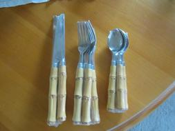 FAUX BAMBOO HANDLE FLATWARE BY CAMBRIDGE SILVERSMITHS 12 PC