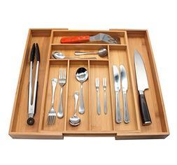 Utensil Organizer, MH ZONE Bamboo Cutlery Flatware Tray 8 Sl
