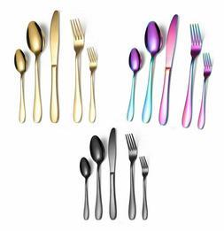 Flatware Cutlery set 20 Pieces Black Stainless Steel Silverw