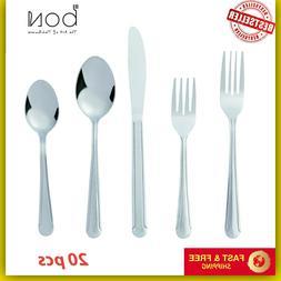 Flatware Cutlery Set Knife Fork Spoon Stainless Steel Silver