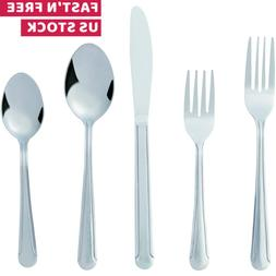 Flatware Cutlery Set Knife Fork Spoon Stainless Steel Silver