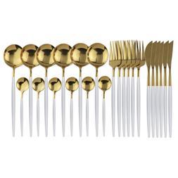 Flatware Set 24pcs Shiny White Gold Knife Fork Spoon Dinnerw