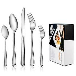 60-Piece Flatware Set for 12, LIANYU Stainless Steel Silverw