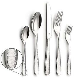 DANIALLI 20-Piece Flatware Set For 4, Modern Hammered Design