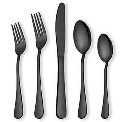 Berglander Flatware Set Black Gold, 20 Piece Black Flatware,