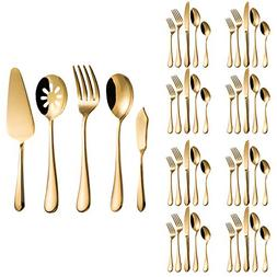 Flatware Set, Magicpro Modern Royal 45-Pieces gold Stainless