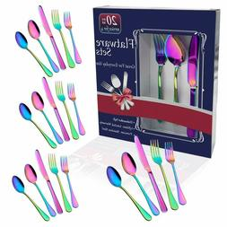 Flatware Sets Rainbow Colorful Stainless Steel Silverware Di