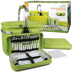 Foldable Insulated Picnic Basket, Service for 4 with Plates,