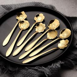 <font><b>Gold</b></font> Stainless Steel Flower Coffee Spoon