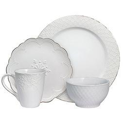 Pfaltzgraff French Lace White 16 Piece Dinnerware Set, Servi