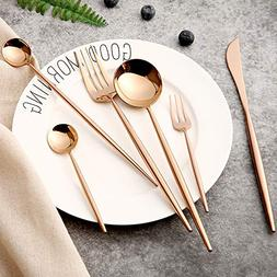 6-Pieces Golden Mirror Cutlery Set 18/8 Stainless Steel Dini