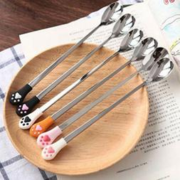 Home Kitchen Coffee Spoon Fruit Flatware Cute Cat Claw Stain