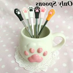 Home Kitchen Coffee Spoon Stainless Steel Cute Cat Claw Frui