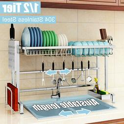 Home Kitchen Over The Sink Dish Drying Rack Stainless Steel