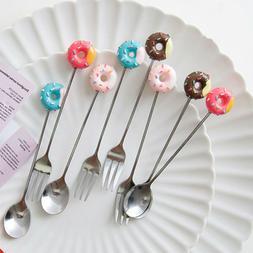 Home Mini Kitchen Coffee Doughnut Spoon Dessert  Fork Stainl