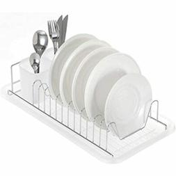 - Home Zone Kitchen Dish Drying Rack With Drain Board, Singl