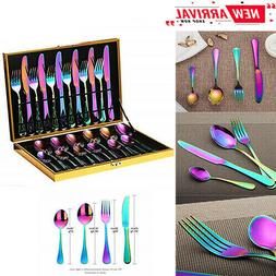 Kitchen Silverware Set 24pcs Flatware Set Stainless Steel Ti
