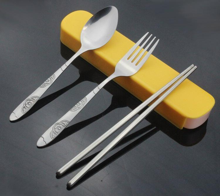 1SET S/Steel Chopstick Spoon Set For Bento Set KV 081