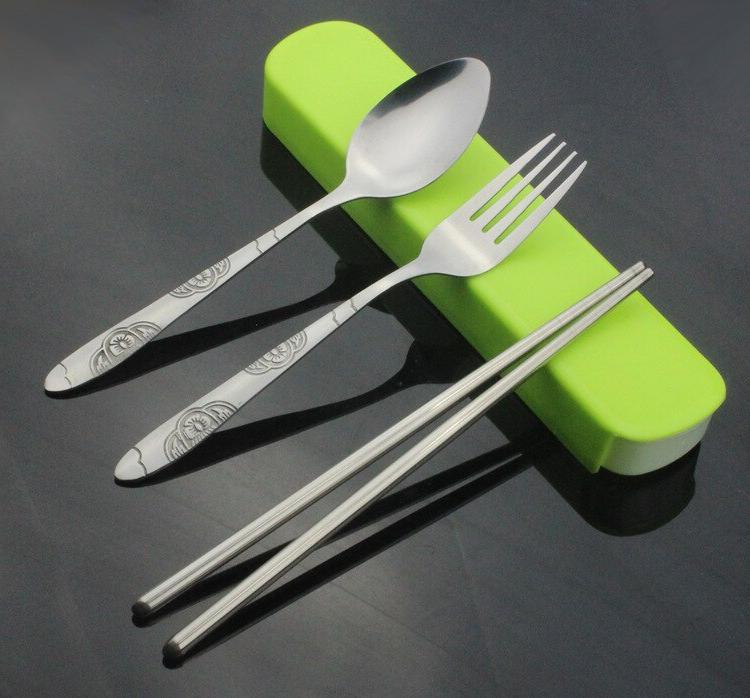 1set portable s steel cutlery chopstick spoon