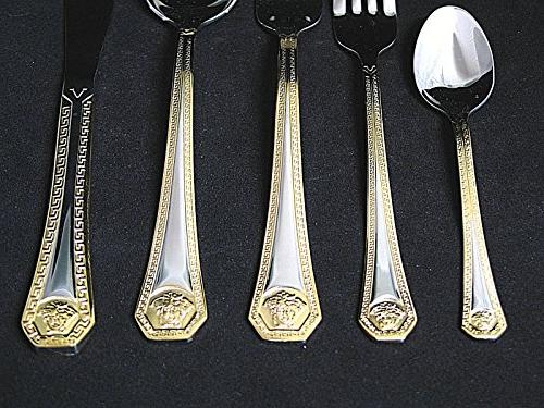 20-Pc. Flatware Service 4, 18/10 Steel Cutlery, 24 Karat Trim