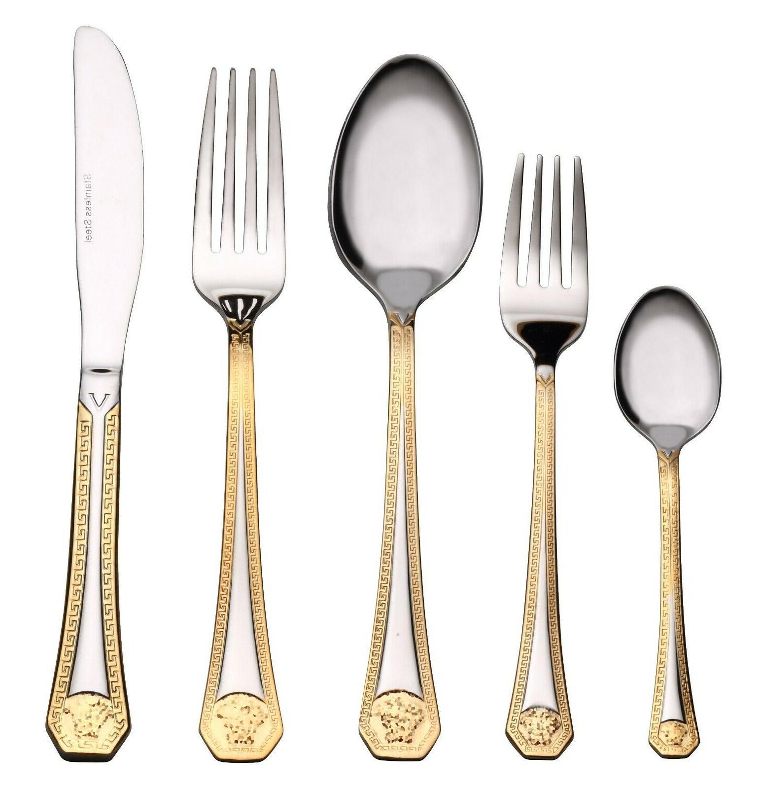 20 pc gold flatware set service premium 18 10 stainless stee