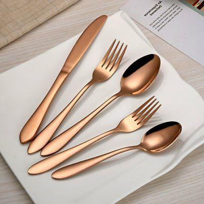 HOMQUEN 20-Piece Copper Color Flatware Set for 4, Stainless