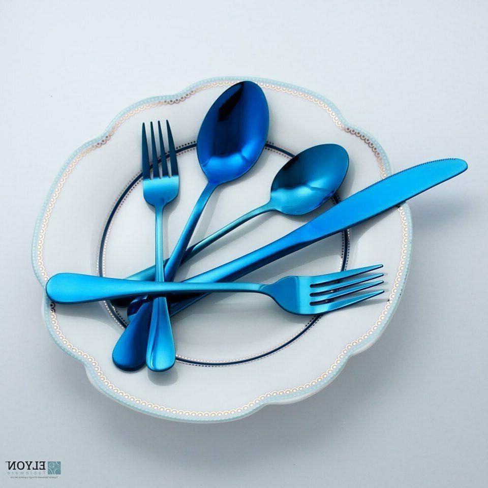 20-Piece Blue Flatware Cutlery Set Reflective Stainless Stee
