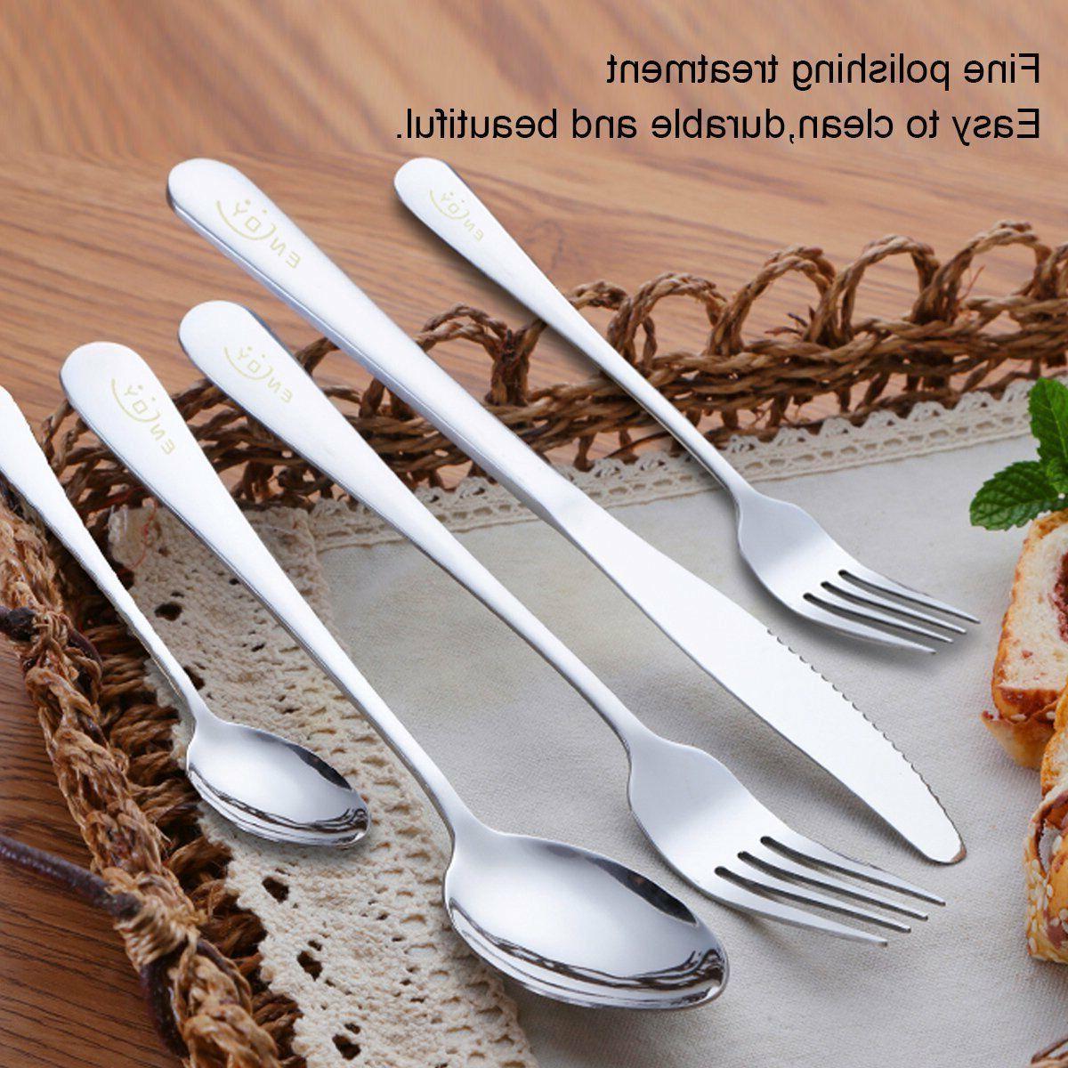 20PCS Steel Dinner Knife Spoon