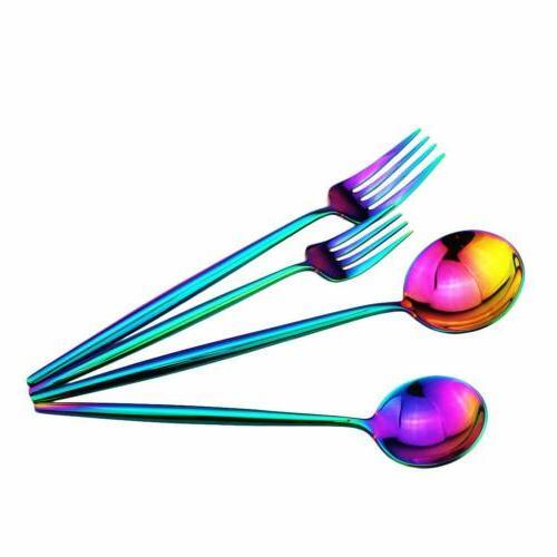 20pcs Rainbow Flatware Cutlery Spoon Multicolor