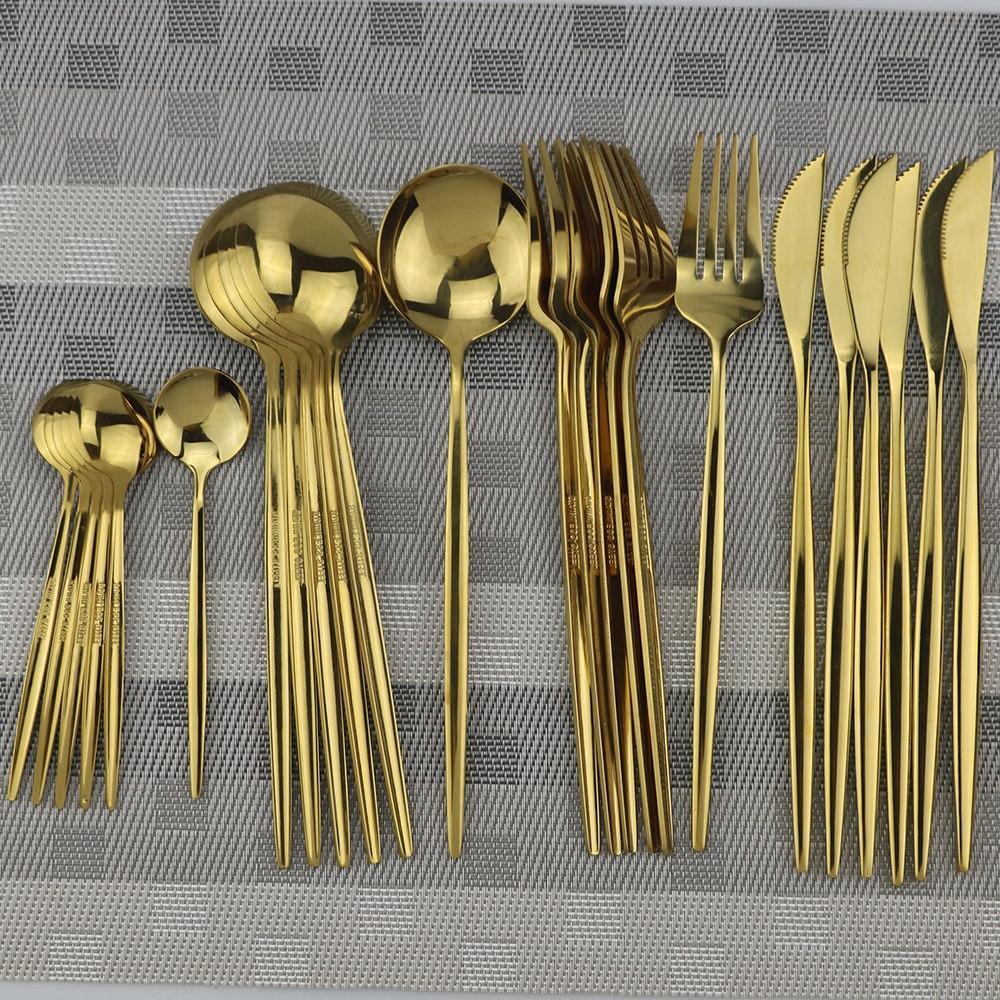 24pcs 18/10 Steel <font><b>Flatware</b></font> Set Spoon Cutlery Silverware With Box