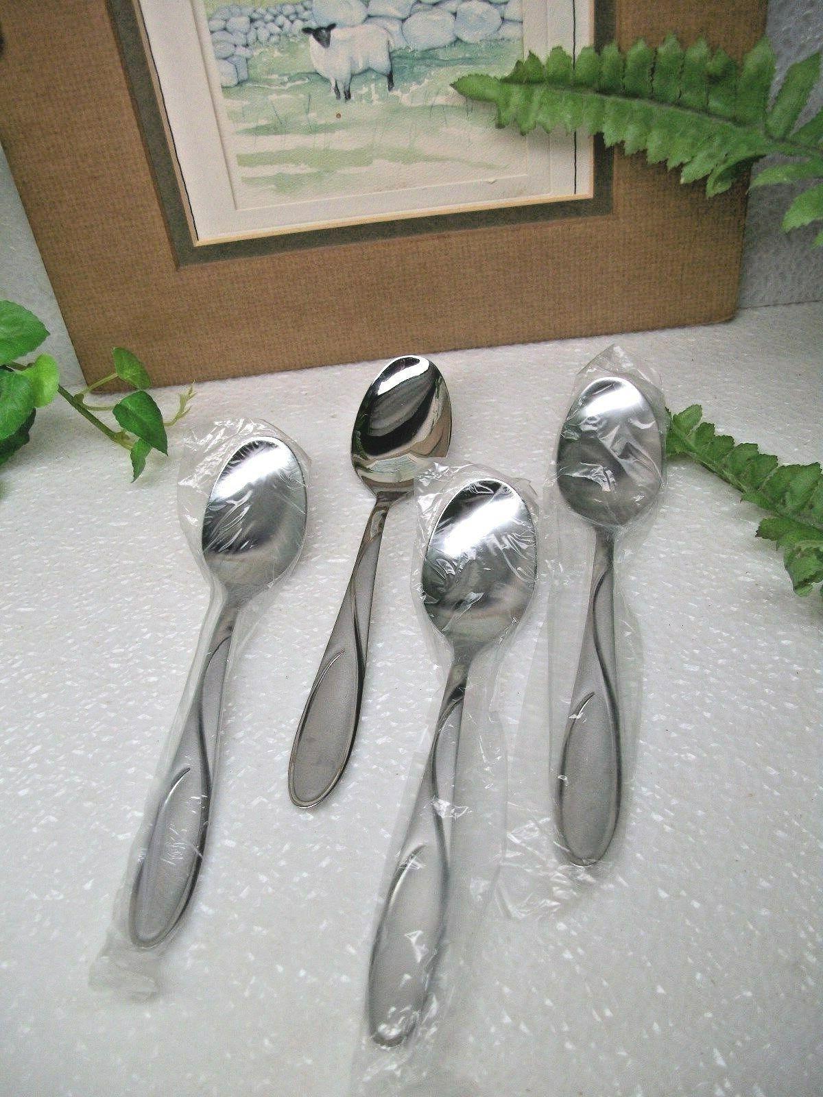 4 gabriella sand stainless steel teaspoons new