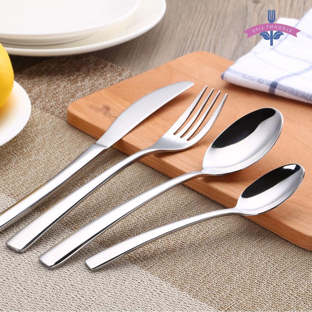 4 Cutlery Sets Silverware Set Steel Dinnerware Polishing Spoon Kitchen Gift