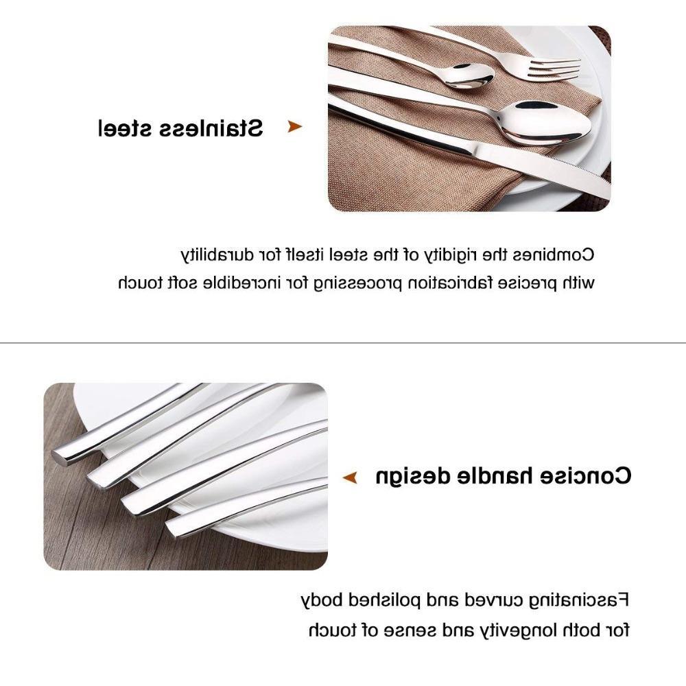 4 PCS Steel Dinnerware Polishing Spoon Knife Fork Kitchen