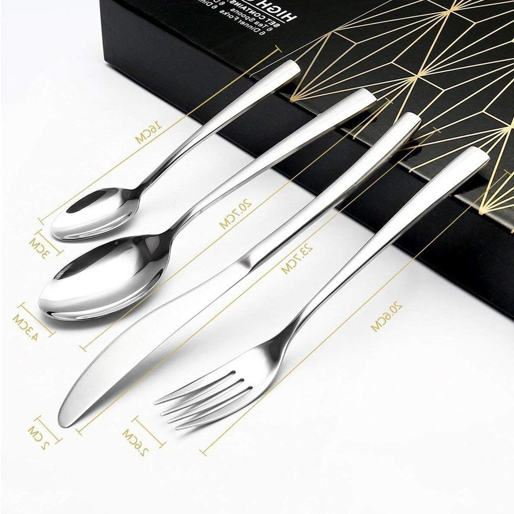 4 Silverware Steel Dinnerware Polishing Spoon Knife Kitchen Gift